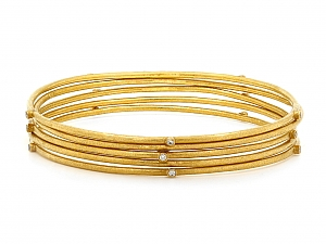 Set of Five Gold Bangles in 24K, by Ara