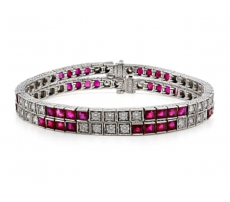 Pair of Ruby and Diamond Bracelets in 18K White Gold