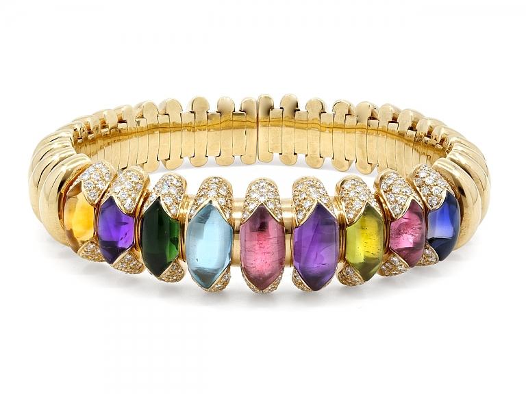 Video of Bulgari Multi-Gemstone and Diamond 'Celtica' Bracelet in 18K Gold