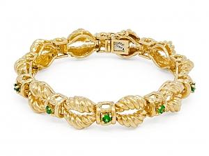 Green Garnet and Gold Bracelet, in 18K