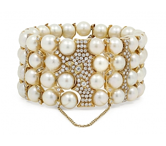 Four Row Pearl Bracelet with Diamonds in 18K Gold
