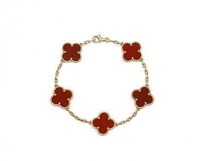 Van Cleef & Arpels 'Vintage Alhambra' Carnelian Bracelet in 18K Gold