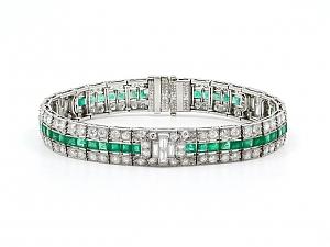 Art Deco Emerald and Diamond Bracelet in Platinum