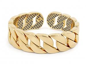 Curb Link Cuff Bracelet in 18K Gold, by Beladora