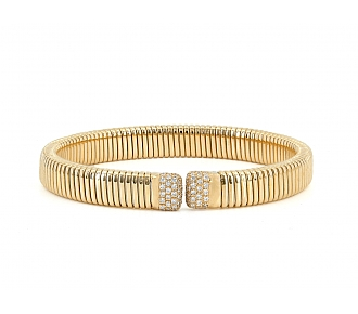 Tubogas Bracelet with Diamonds, Medium, by Beladora, in 18K Gold