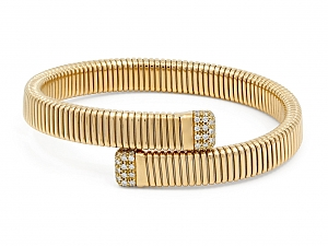 Tubogas Bypass Bracelet with Diamonds, Medium, by Beladora, in 18K Gold