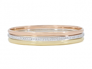Trio of Bangle Bracelets in 18K Yellow, White and Rose Gold