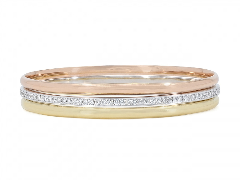 Video of Trio of Bangle Bracelets in 18K Yellow, White and Rose Gold