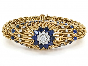 Marchak Mid-Century Sapphire and Diamond Bracelet in 18K Gold