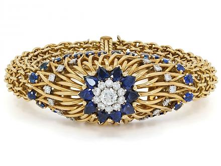 Marchak Mid-Century Sapphire and Diamond Bracelet in 18K Gold