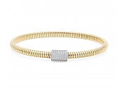 Thin Tubogas Bracelet with Diamond Clasp, in 18K Yellow Gold, by Beladora