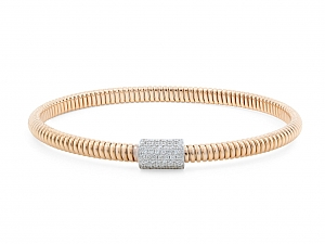 Thin Tubogas Bracelet with Diamond Clasp, in 18K Rose Gold, by Beladora