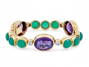 French Chalcedony, Amethyst and Diamond Bracelet in 18K