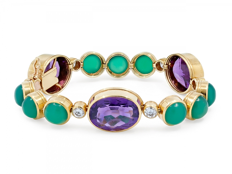 Video of French Chalcedony, Amethyst and Diamond Bracelet in 18K
