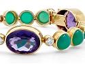 French Chalcedony, Amethyst and Diamond Bracelet in 18K