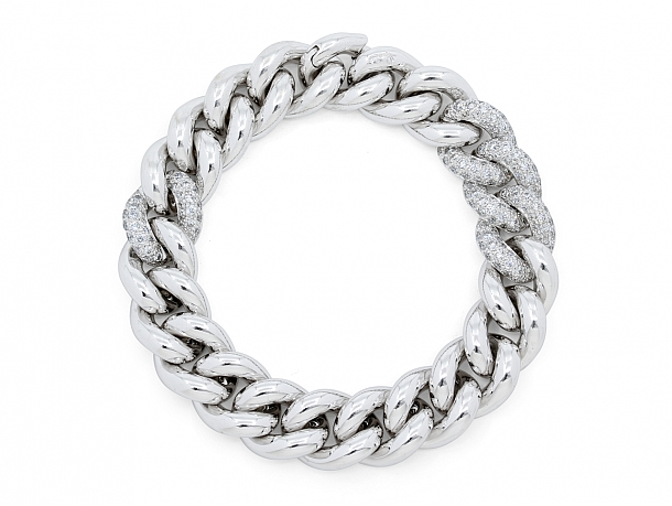 Pomelatto Diamond 'Gourmette' Bracelet in 18K White Gold