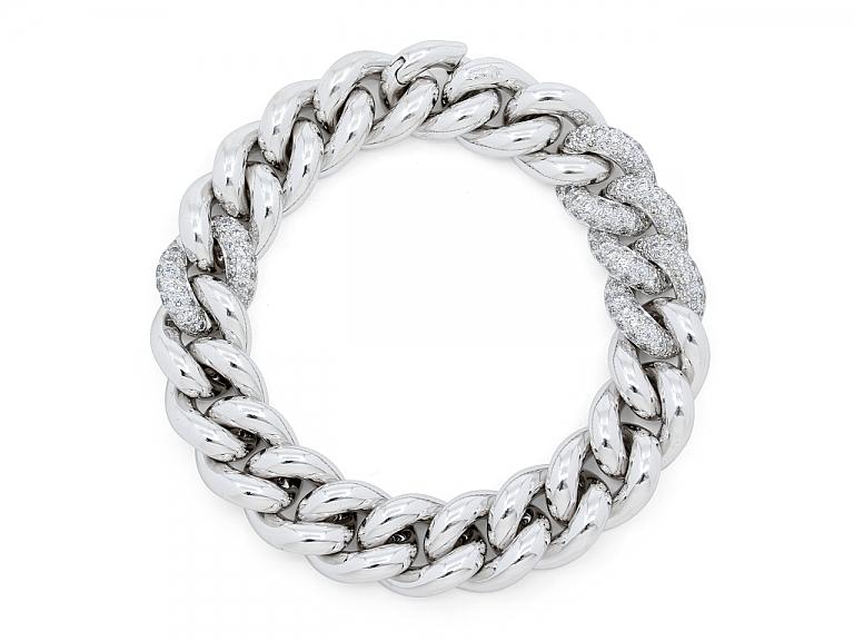 Video of Pomelatto Diamond 'Gourmette' Bracelet in 18K White Gold