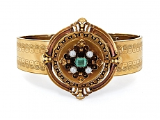 Antique Victorian Emerald and Seed Pearl Bracelet in 18K Gold, French