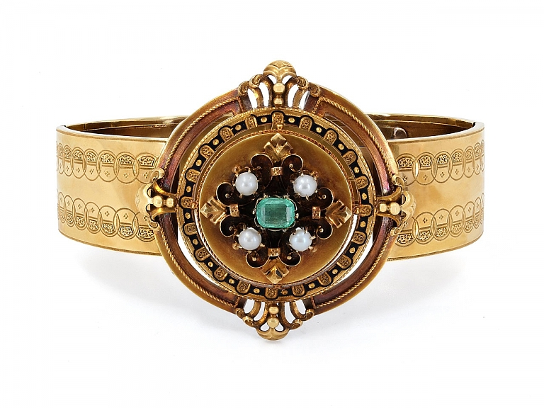 Video of Antique Victorian Emerald and Seed Pearl Bracelet in 18K Gold, French