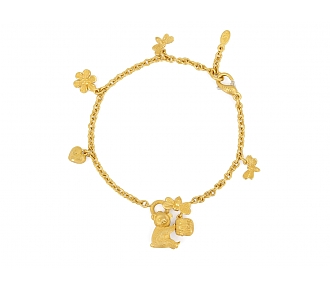 Bear with Honeypot Charm Bracelet in 24K Gold
