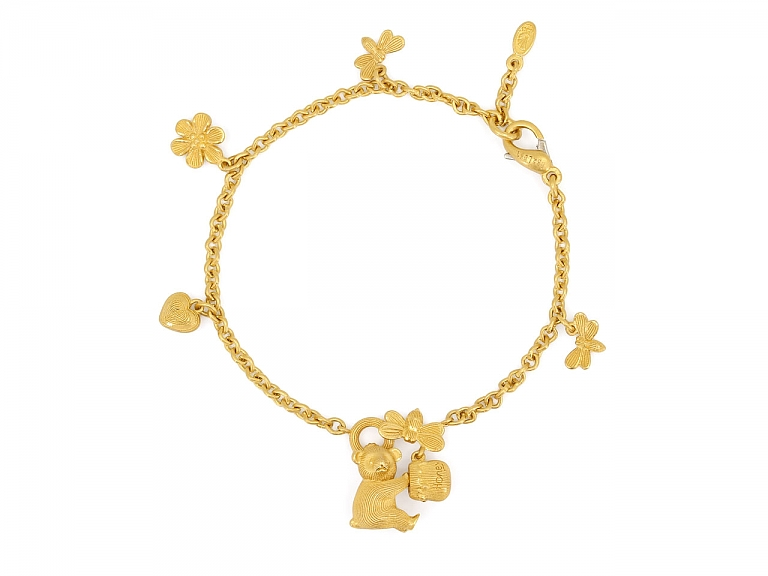 Video of Bear with Honeypot Charm Bracelet in 24K Gold