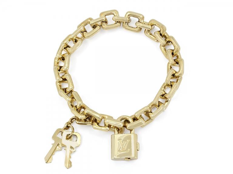 Video of Louis Vuitton 'Padlock and Keys' Charm Bracelet in 18K Gold