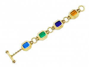 Elizabeth Locke Venetian Glass Intaglio Bracelet in 18K Gold