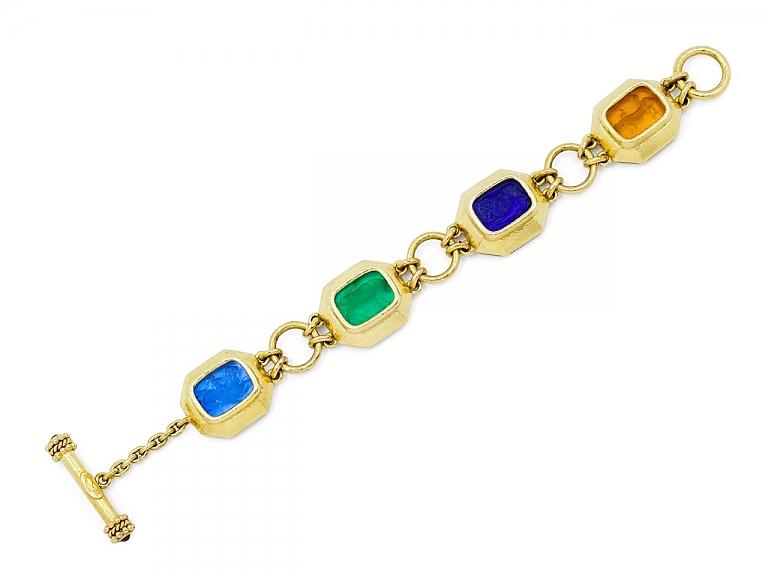 Video of Elizabeth Locke Venetian Glass Intaglio Bracelet in 18K Gold