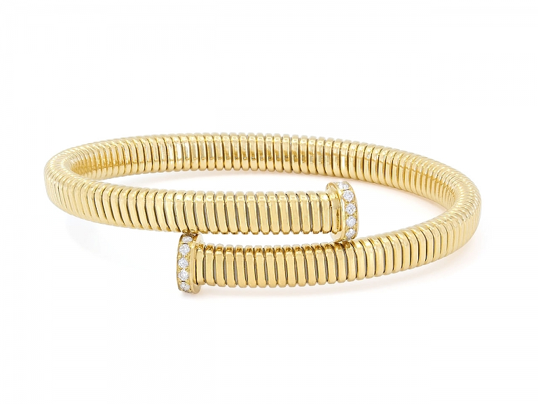 Video of Tubogas Bypass Bracelet with Nail Head Terminals in 18K Yellow Gold, by Beladora