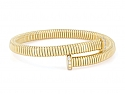 Tubogas Bypass Bracelet with Nail Head Terminals in 18K Yellow Gold, by Beladora
