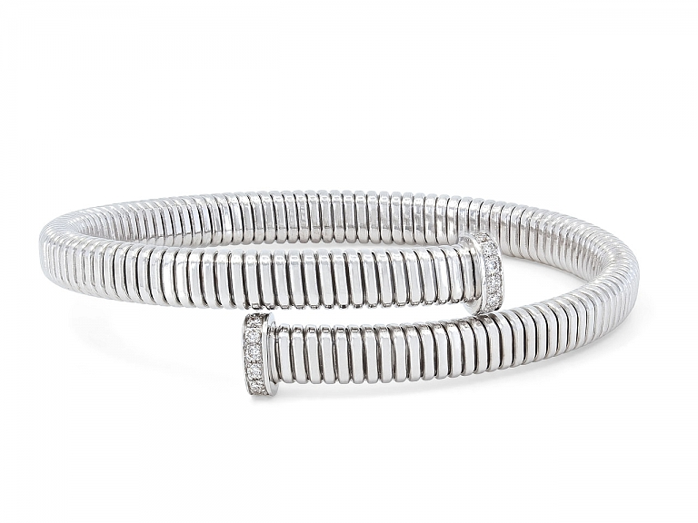 Video of Tubogas Bypass Bracelet with Nail Head Terminals in 18K White Gold, by Beladora