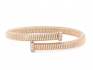 Tubogas Bypass Bracelet with Nail Head Terminals in 18K Rose Gold, by Beladora