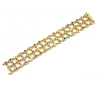 Aaron Henry Multi-Color Sapphire, Ruby and Diamond 'Celebration' Reversible Bracelet in 18K Gold