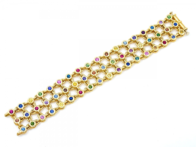 Video of Aaron Henry Multi-Color Sapphire, Ruby and Diamond 'Celebration' Reversible Bracelet in 18K Gold