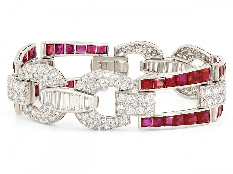 Video of Ruby and Diamond Bracelet in 18K White Gold