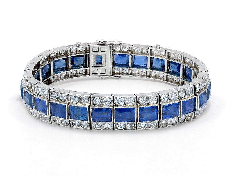 Video of Art Deco Sapphire and Diamond Bracelet in Platinum and 18K White Gold