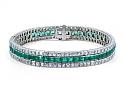 Art Deco Three Row Emerald and French-cut Diamond Bracelet