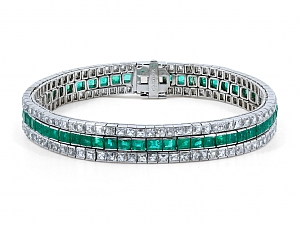 Art Deco Three Row Emerald and French-cut Diamond Bracelet