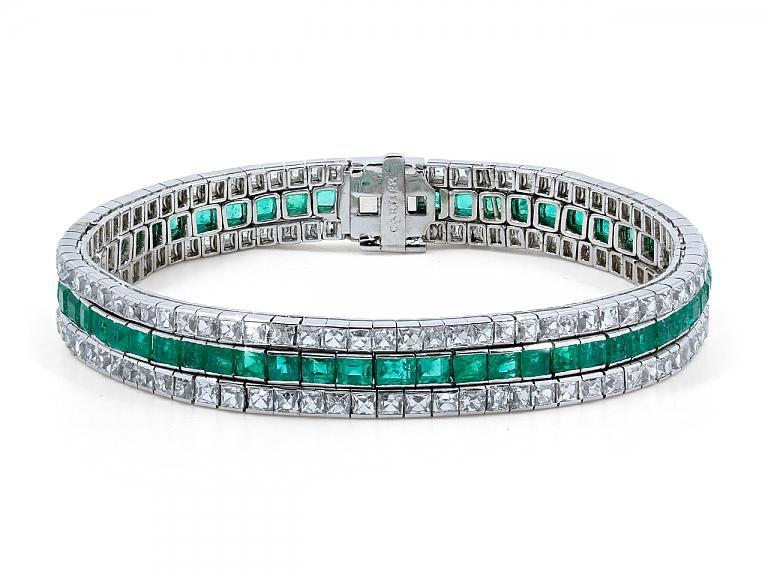 Video of Art Deco Three Row Emerald and French-cut Diamond Bracelet