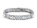Antique Edwardian Diamond and Natural Pearl Bracelet in Platinum