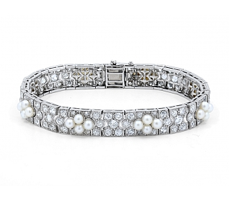Antique Edwardian Diamond and Natural Pearl Bracelet in Platinum