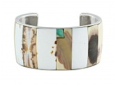 Wide Inlay Cuff Bracelet in 18K