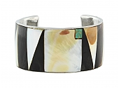 Wide Inlay Cuff Bracelet in 18K