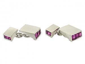 Ruby Cufflinks in Platinum