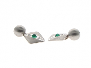 Art Deco Emerald and French-cut Diamond Cufflinks in Platinum