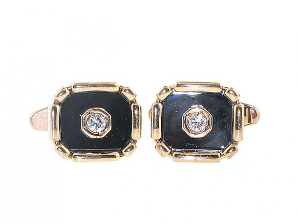 Hematite and Diamond Cufflinks in 14K