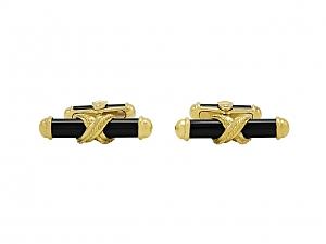 Onyx Bar Cufflinks in 18K Gold