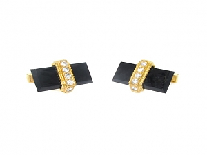 Charles Gold & Co. Onyx and Diamond Cufflinks in 18K