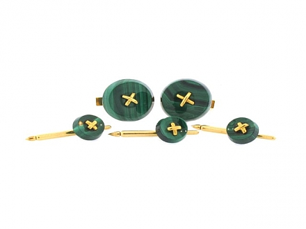 Tiffany & Co. Malachite Dress Set in 14K Gold