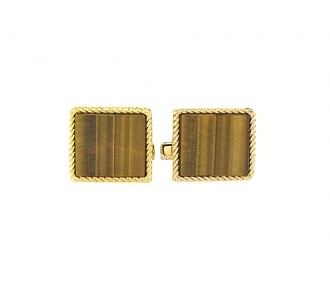 Charles Gold & Co. Tiger's Eye Cufflinks in 18K
